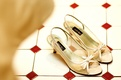 Wedding shoes with bow and peep toe