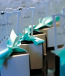 Tiffany blue box on top of mini white chair wedding favor