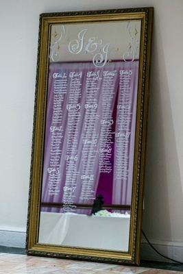 Wedding reception with guests seating assignments written in white on a golden framed mirror