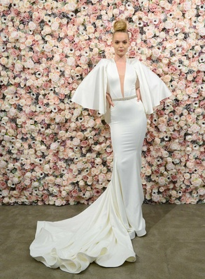 Michael Costello spring summer 2018 bridal couture collection flounce sleeves deep plunging v neck