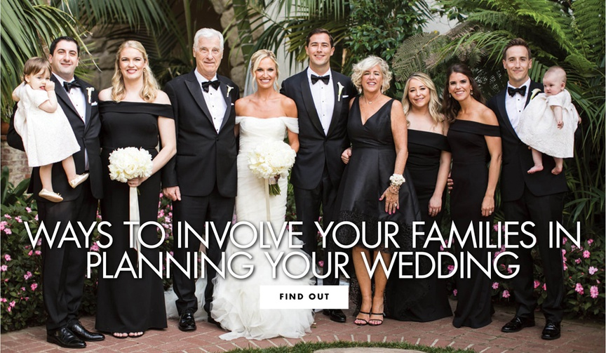 family wedding portrait with groomsmen in tuxedo, bridesmaids in off-the-shoulder black gowns