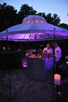Wedding reception fluorescent drink station