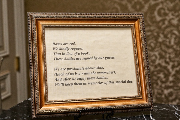 framed roses are red poem explaining guest book
