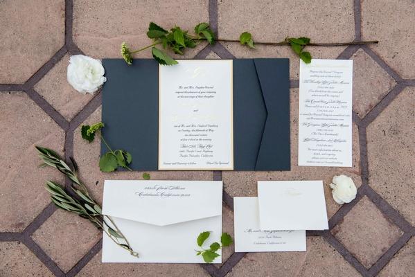 classic blue white gold invitation suite wedding calligraphy