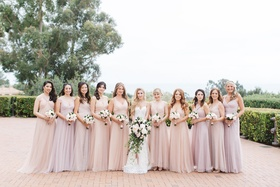 bride bridesmaids shades blush lavender small large bouquets big bridal party