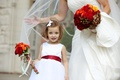 Flower girl with marsala red ribbon belt