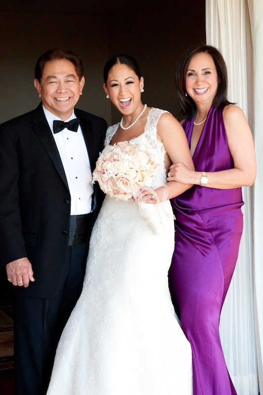 Donna Karen bright fuchsia v-neck mother of bride dress