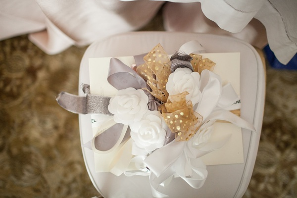 Bridal shower gift in white box with white rose, silver bow, and gold bows