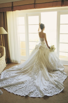 St. Pucchi wedding dress with long train
