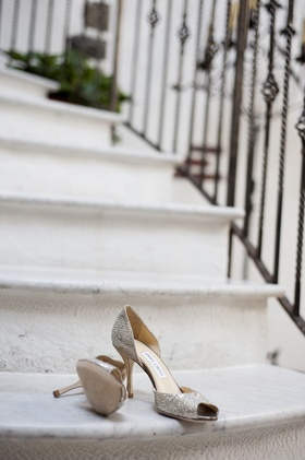 Bride's silvery peep-toe Jimmy Choo pumps