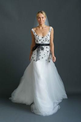 Sabrina Dahan 2016 scoop neck wedding dress with black beading on bodice and black bow