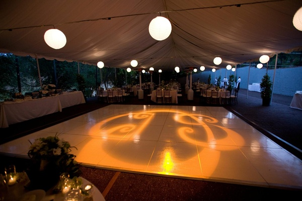 Wedding reception dance floor with couple's monogram projection