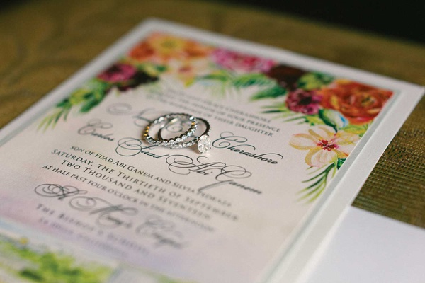 tropical wedding invitation colorful flowers solitaire diamond engagement ring pave diamond band