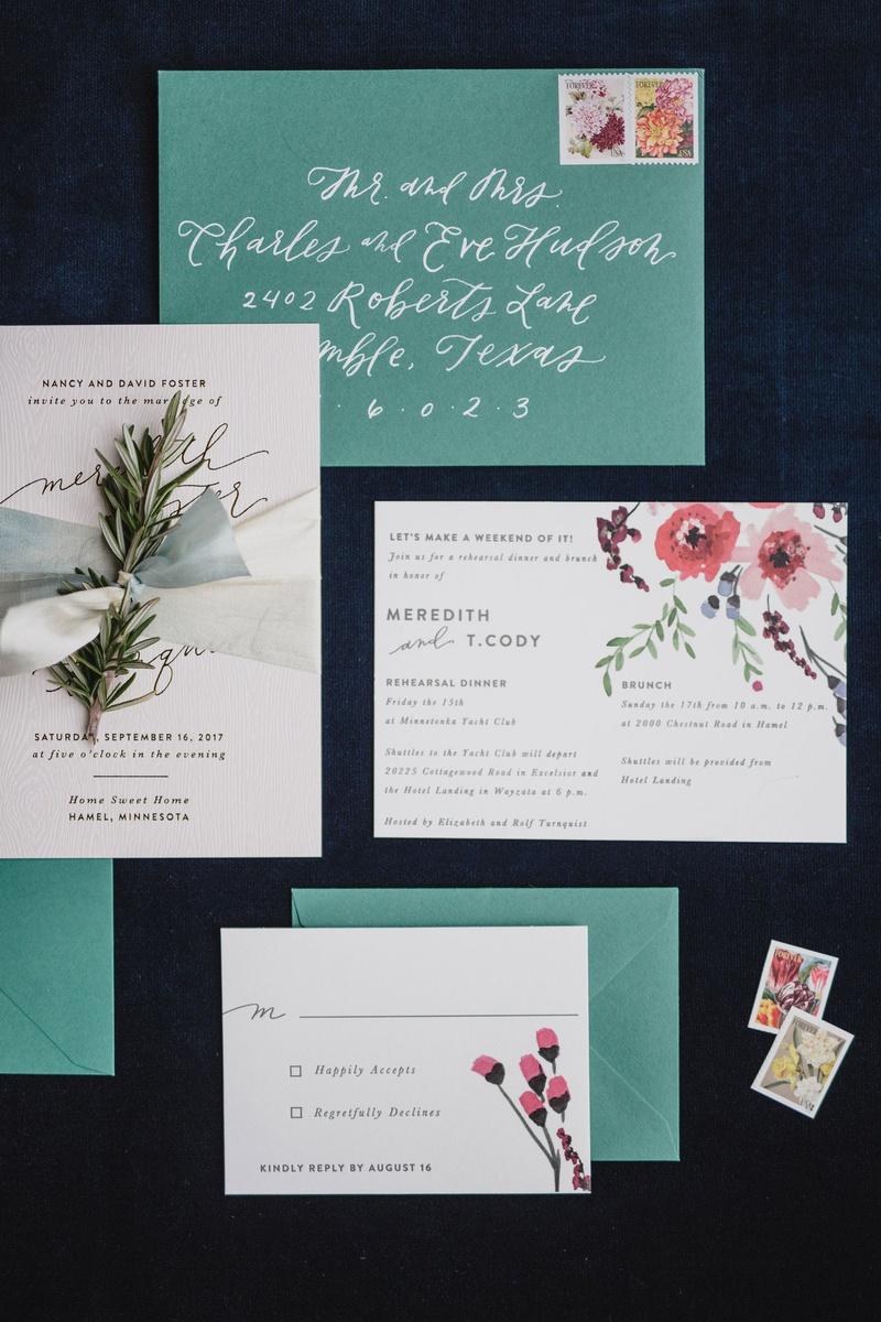 wedding invitation suite with vintage invite green envelope white calligraphy pink flower design