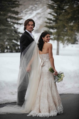 Jared Padalecki and Genevieve Cortese wedding portrait
