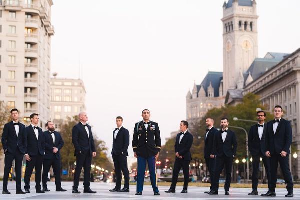 wedding portrait groom in military uniform with groomsmen in tuxedos washington dc