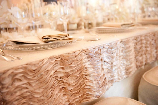 Wedding reception pink ruffle border on tablecloth
