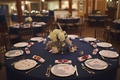 Blue table with lobster details and buoy centerpiece
