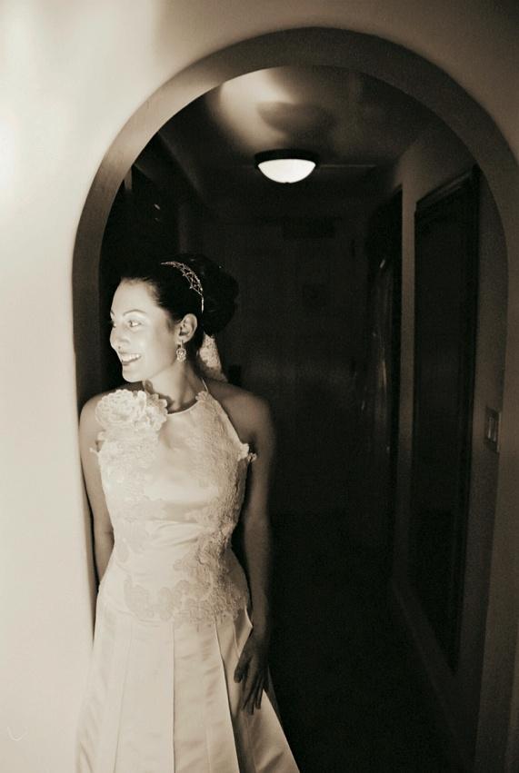 Black and white photo of Junko Yoshioka gown
