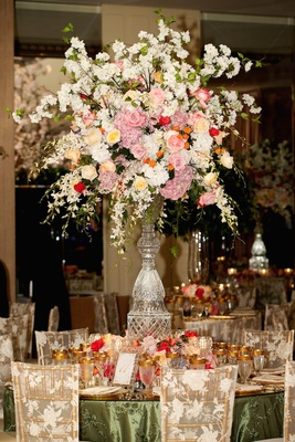 Cut Crystal Centerpiece Stand With Lush Pink White Flowers Arrangements