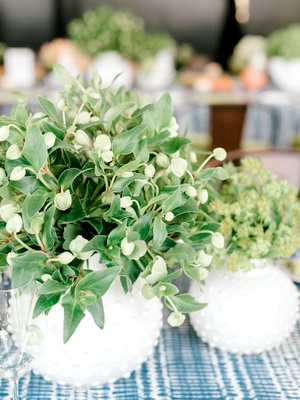 bridal shower flower arrangement short centerpiece ideas greenery white round vase with studs