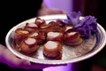 Wedding appetizer with bacon and scallop seafood