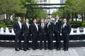 groom and groomsmen in hugo boss, groomsmen in aquamarine ties