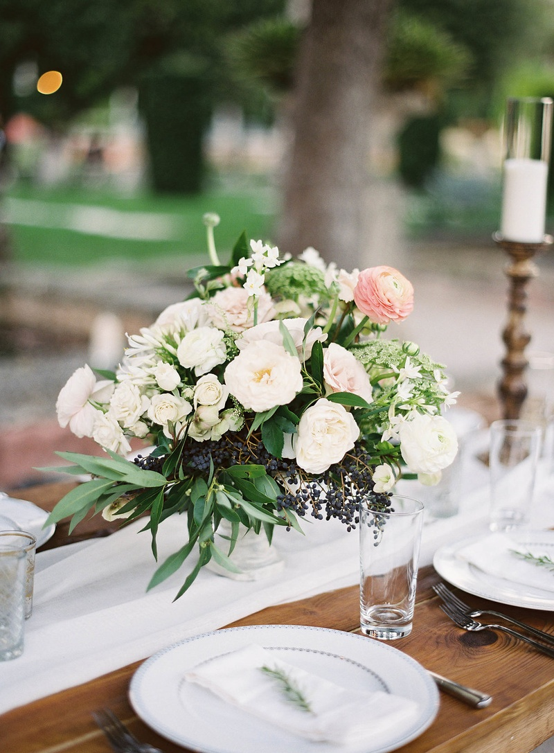 Reception décor photos white blush centerpiece on