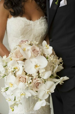Pink rose, white orchid and stephanotis bouquet