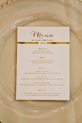 Wedding menu card modern style menu in calligraphy gold foil banner by wedding date selections