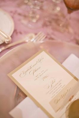 White and gold border wedding dinner menu stationery