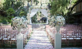 calamigos ranch wedding outdoor ceremony, rose gold chiavari chairs