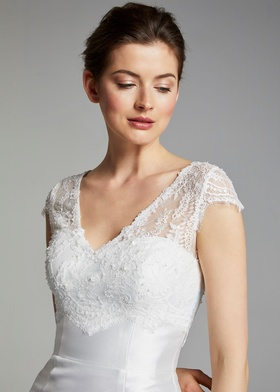 Blue Willow Bride Spring 2019 collection beaded lace v neck short sleeve top