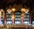 university club of chicago cathedral hall wedding, chandeliers, stained glass