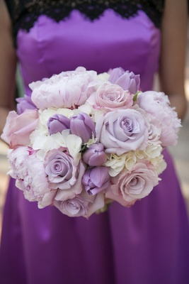 White hydrangeas, purple roses and tulips