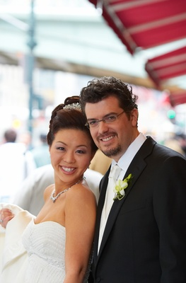 Asian American bride with groom in New York
