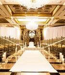 joe panik's wedding, gold and ivory wedding ceremony with candles