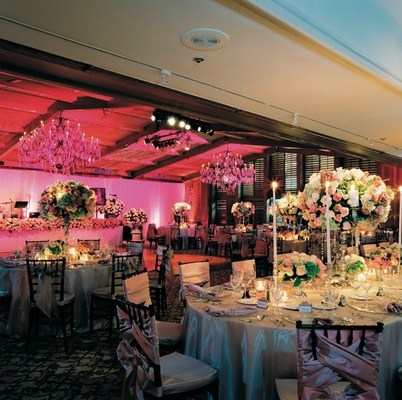 Ballroom wedding reception with antique elements