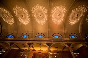 vibiana wedding reception, art deco lighting on ceiling, heidi gibson engagement ring lighting