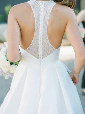 modern trousseau oxford wedding dress, lace racerback detail with covered buttons
