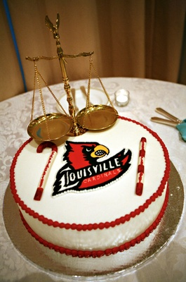 Louisville Cardinals white and red groom cake with scale
