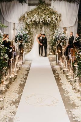 former miss america savvy shields wedding ceremony decorations gold monogram white aisle runner