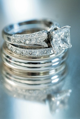 square cut diamond ring with diamonds on band