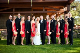 Bridesmaids and groomsmen outside lodge