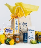 Welcome bag for destination wedding drinks corn chile corn chips and love story tote bag yellow