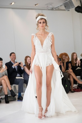 Julie Vino 2018 Havana bridal collection wedding dress romper with ruffles on side and long train
