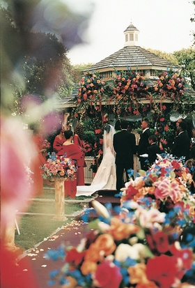 Floral gazebo and colorful flower arrangements