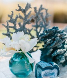 White orchid in turquoise bud vase, blue agate slice, blue coral on seashell table at wedding