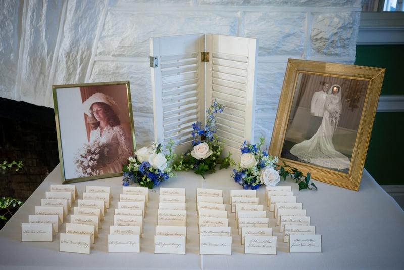 escort card table with framed old photos