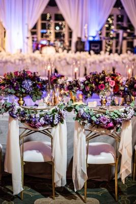 wedding reception ballroom chameleon chair collection gold bride groom chairs drapery greenery